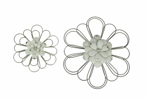 Set of 2 White Metal Flower Wall Art Rustic Hanging Home Decor Distressed Sculpture Perspective: front