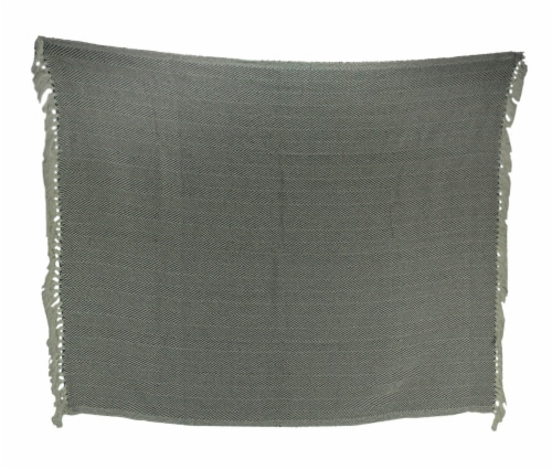 2-Tone Cotton Zig Zag Striped Fringed Throw Blanket, White/Grey - Gray Perspective: front