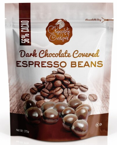 Chocolate Orchard Dark Chocolate Espresso Beans Perspective: front