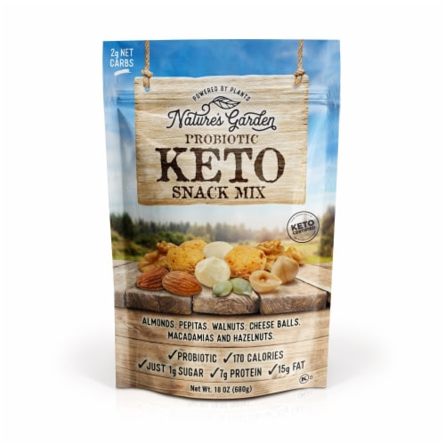 Probiotic Keto Snack Mix 18 oz. Perspective: front