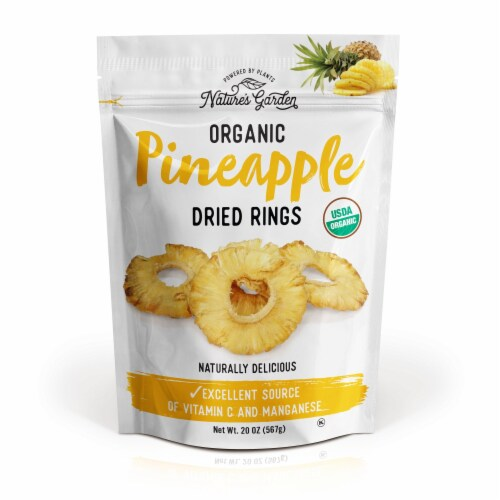 Nature's Garden Organic Pineapple Dried Rings 20 oz Perspective: front