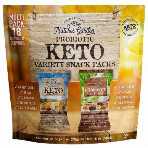 Nature's Garden Probiotic Keto Variety Snack Packs 1 oz (Pack of 18) Perspective: front