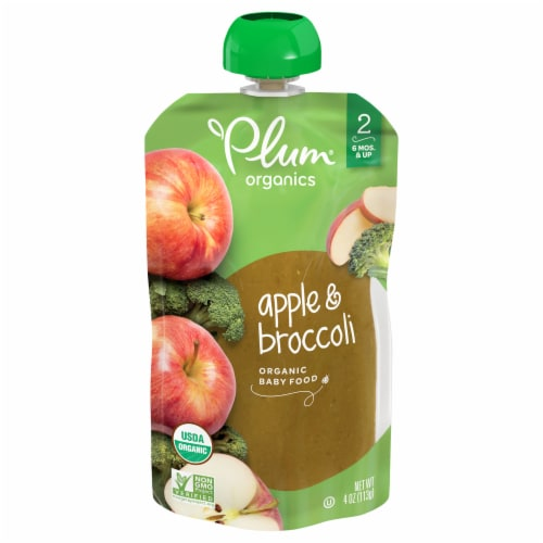 Plum Organics Apple & Broccoli Stage 2 Baby Food Pouch Perspective: front
