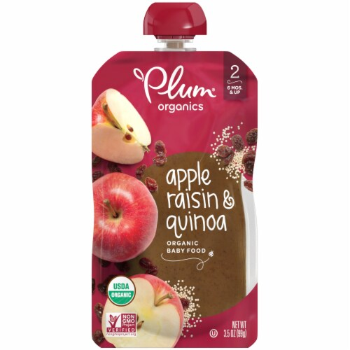 Plum Organics Stage 2 Apple Raisin & Quinoa Baby Food Perspective: front