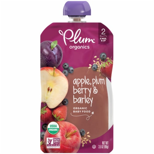 Plum Organics Apple Plum Berry & Barley Stage 2 Baby Food Perspective: front