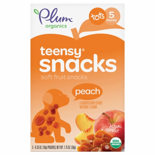 Plum Organics Teensy Fruits Peach Flavor Soft Fruit Snacks 5 Count Perspective: front