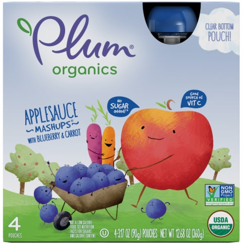 Plum Organics Mashups Blueberry and Carrot Applesauce 4 Count Perspective: front