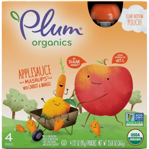 Plum Organics Applesauce Mashups with Carrot & Mango 4 Count Perspective: front