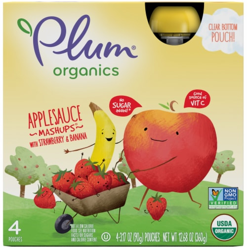 Plum Organics Mashups Strawberry & Banana Applesauce Perspective: front