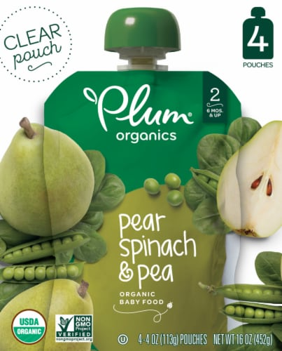 Plum Organics Pear Spinach & Pea Stage 2 Baby Food 4 Count Perspective: front