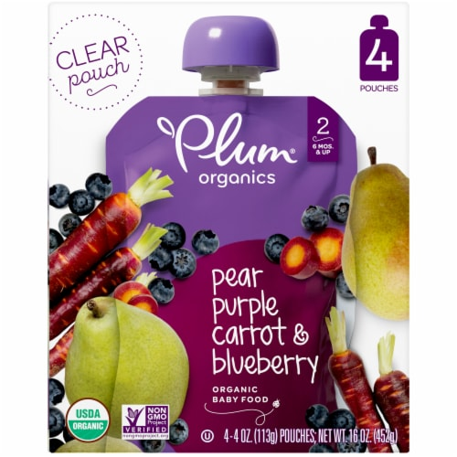 Plum Organics Pear Purple Carrot & Blueberry Stage 2 Baby Food Perspective: front