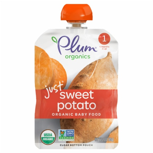Plum Organics Stage 1 Just Sweet Potato Baby Food Perspective: front
