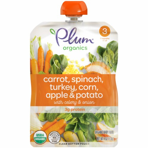 Plum Organics Carrot Spinach Turkey Corn Apple & Potato Stage 3 Baby Food Perspective: front