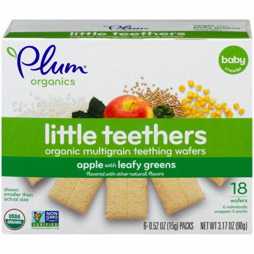 Plum Organics Little Teethers Apple with Leafy Greens Teething Wafers Perspective: front