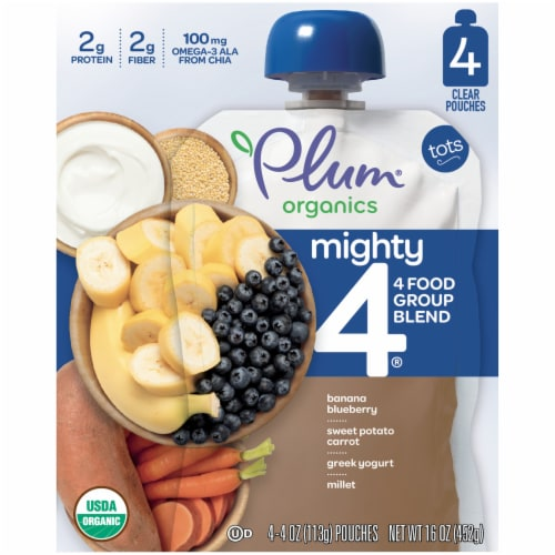 Plum Organics Mighty 4 Tots Baby Food Perspective: front