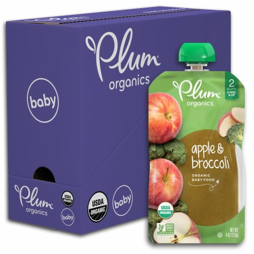 Plum Organics Apple & Broccoli Stage 2 Baby Food Perspective: front