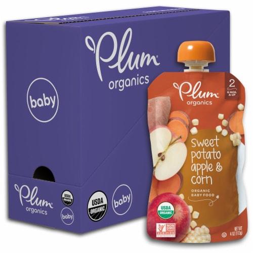 Plum Organics Sweet Potato Apple & Corn Stage 2 Baby Food 6 Count Perspective: front