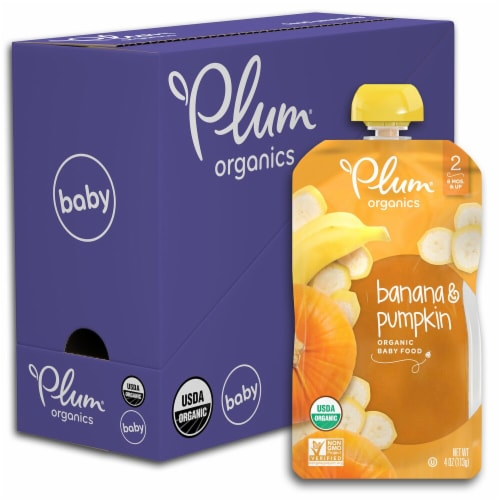 Plum Organics Banana & Pumpkin Stage 2 Baby Food 6 Count Perspective: front