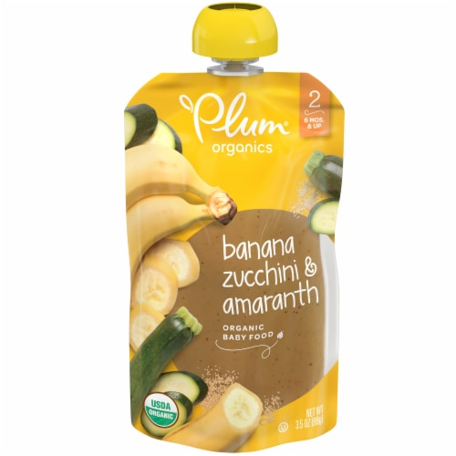 Plum Organics Banana Zucchini Amaranth Stage 2 Fruit & Grain Baby Food Pouch Perspective: front