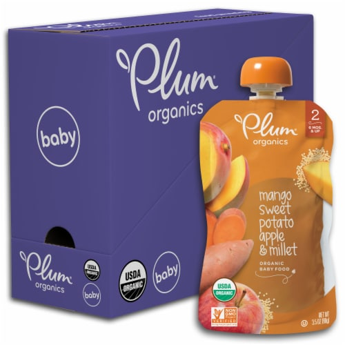 Plum Organics Mango Sweet Potato Apple & Millet Stage 2 Fruit & Grain Baby Food Pouch Perspective: front