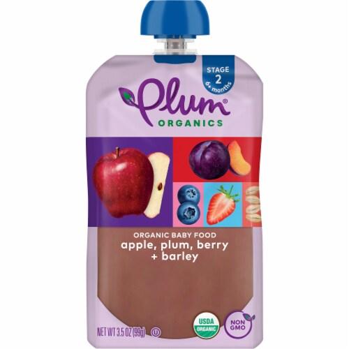 Plum Organics Apple Plum Berry & Barley Fruit & Grain Stage 2 Baby Food Perspective: front