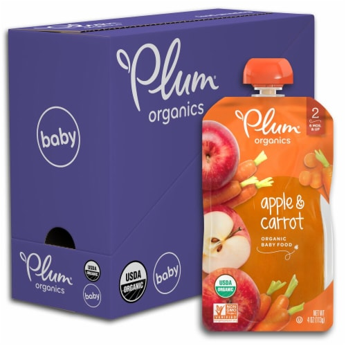 Plum Organics Apple & Carrot Stage 2 Baby Food Perspective: front