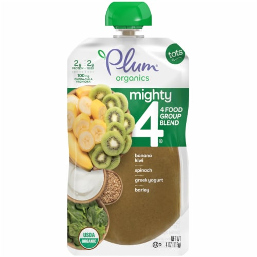 Plum Organics Mighty 4 Spinach Kiwi Barley Tot Snack Perspective: front
