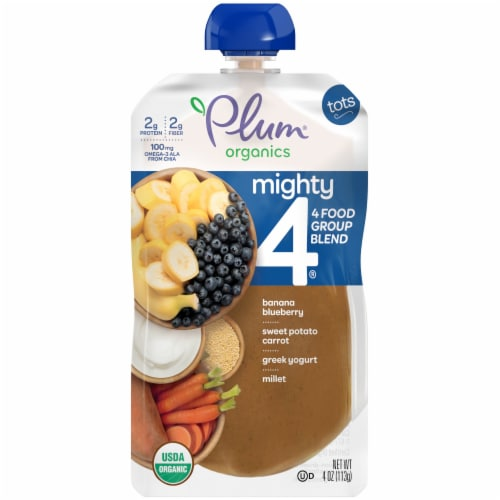 Plum Organics Mighty 4 Blueberry Sweet Potato Millet Tot Snack Perspective: front