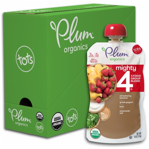 Plum Organics Mighty 4 Strawberry Banana Greek Yogurt Kale Amaranth & Oat Toddler Food Pouches Perspective: front