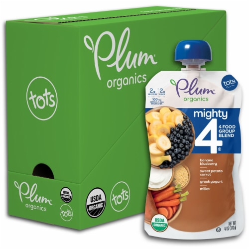 Plum Organics Tots Mighty 4 Puree Pouches Perspective: front
