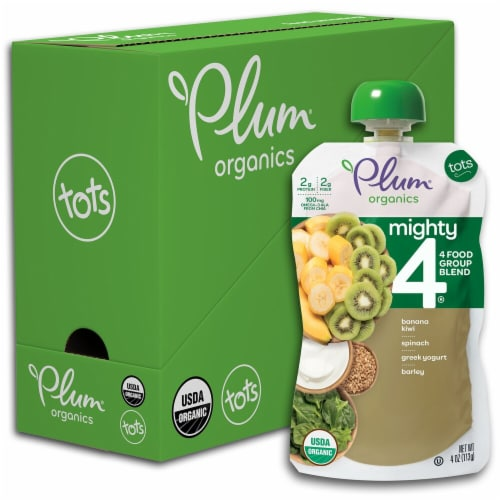Plum Organics Mighty 4 Banana Kiwi Spinach Greek Yogurt & Barely Food Pouch Perspective: front