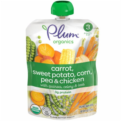 Plum Organics Carrot Sweet Potato Corn Peas & Chicken Stage 3 Baby Food Pouch Perspective: front