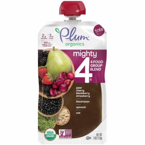 Plum Organics® Mighty 4® Blends Tots Food Pouch Perspective: front