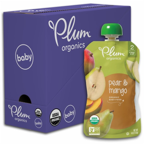 Plum Organics  Organic Baby Food Stage 2 Pouch   Pear & Mango Perspective: front