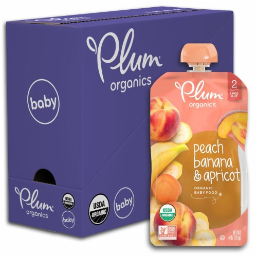 Plum Organics Peach Banana & Apricot Stage 2 Baby Food Pouches 6 Count Perspective: front