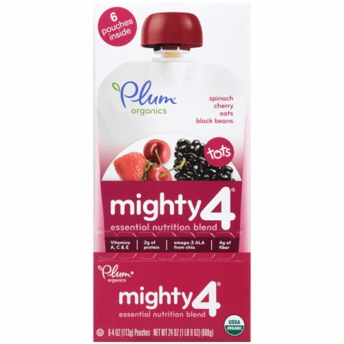 Plum Organics Mighty 4 Spinach Cherry Oats Black Beans Baby Food Pouch Perspective: front