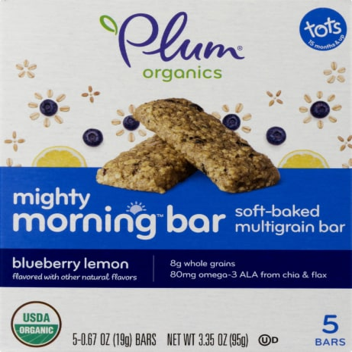 Plum Organics Blueberry Lemon Morning Bar Perspective: front