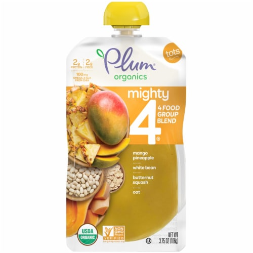 Plum Organics Tots Mighty 4 Blends Mango Pineapple Tots Snack Perspective: front