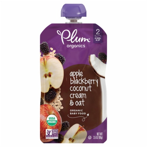 Plum Organics Apple Blackberry Coconut Cream & Oat Organic Baby Food Perspective: front
