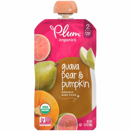 Plum Organics Guava Pear & Pumpkin Organic Stage 2 Baby Food Perspective: front