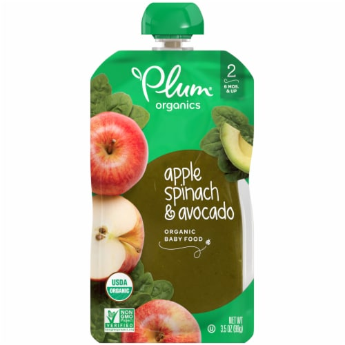 Plum Organics Apple Spinach & Avocado Organic Baby Food Pouch Perspective: front