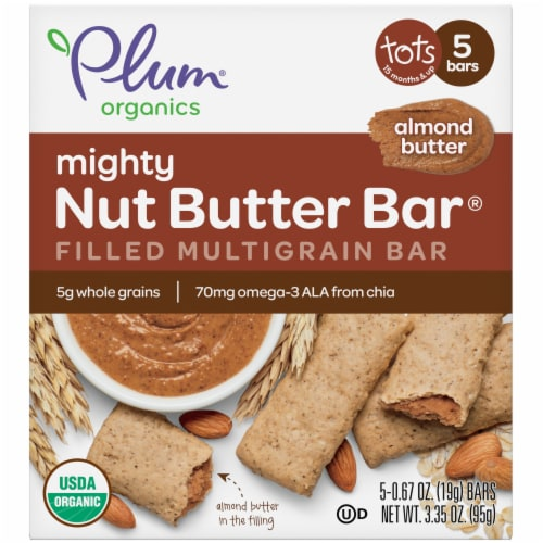 Plum® Organics Almond Butter Mighty Nut Butter Bar Filled Multigrain Bar Perspective: front