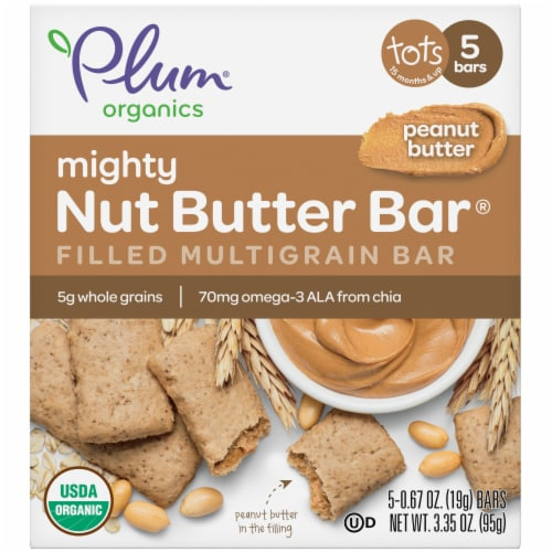 Plum Organics Peanut Butter Mighty Nut Butter Bar 5 Count Perspective: front