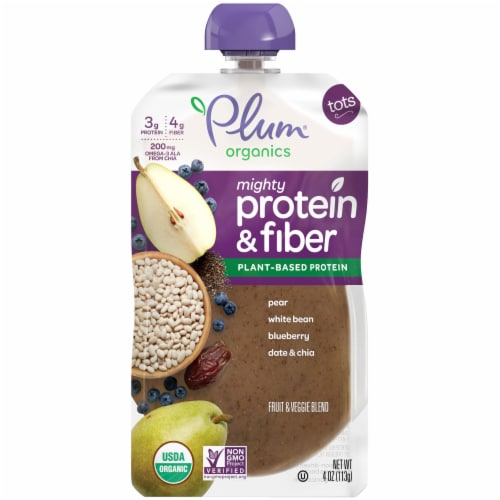 Plum Organics Tots Pear White Bean Blueberry Date & Chia Toddler Snack Pouch Perspective: front