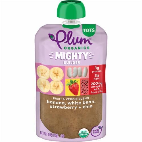 Plum Organics Banana White Bean Strawberry & Chia Blend Snack Perspective: front