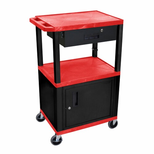 """Luxor 42"""" Tuffy A/V Cart - Three Shelves, Cabinet, Drawer - Black Legs Red Perspective: front"""