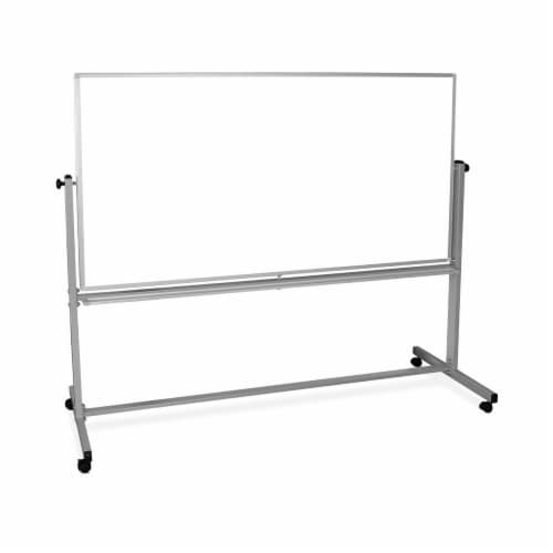 """Luxor 72""""W x 40""""H Double-Sided Mobile Magnetic Whiteboard Perspective: front"""