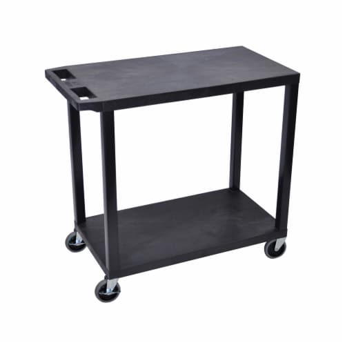 Luxor Black 32 x18 , Cart with 2 Flat Shelves Perspective: front