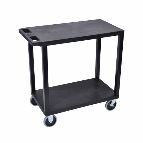Luxor Black  18x32, Cart with 2 Flat Shelves Perspective: front