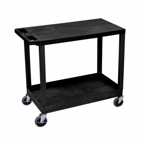"""Luxor 32"""" X 18"""" Cart - One Tub/One Flat Shelves - Black Perspective: front"""
